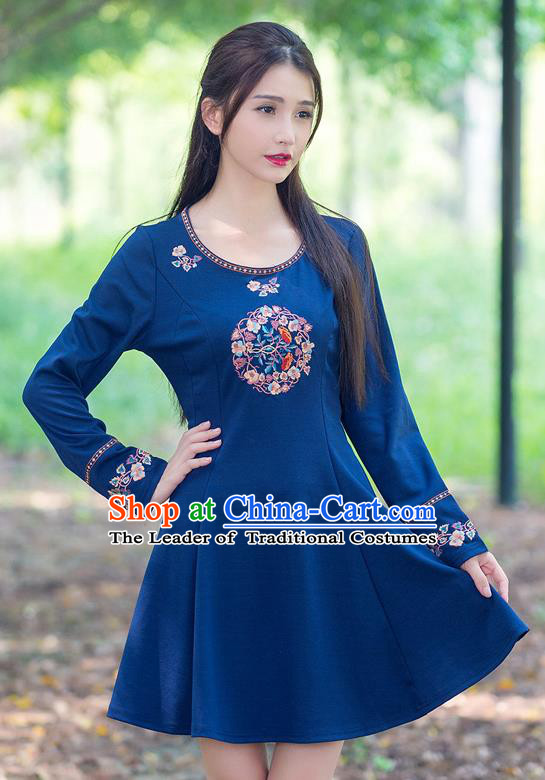 Traditional Ancient Chinese National Costume, Elegant Hanfu Embroidery Blue Dress, China Tang Suit Upper Outer Garment Elegant Dress Clothing for Women