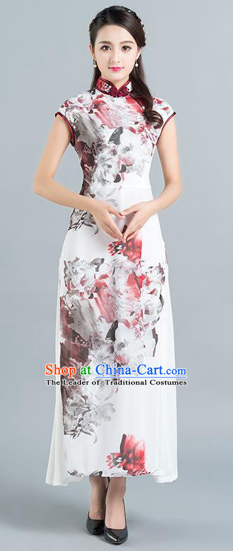 Traditional Ancient Chinese National Costume, Elegant Hanfu Mandarin Qipao Chiffon Hand Painting Dress, China Tang Suit Chirpaur Republic of China Cheongsam Upper Outer Garment Elegant Dress Clothing for Women