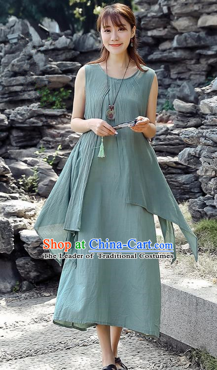 Traditional Ancient Chinese National Costume, Elegant Hanfu Linen Blue Dress, China Tang Suit Chirpaur Republic of China Cheongsam Upper Outer Garment Elegant Dress Clothing for Women