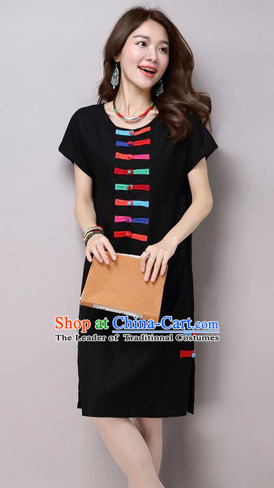 Traditional Ancient Chinese National Costume, Elegant Hanfu Linen Plated Buttons Black Dress, China Tang Suit Chirpaur Republic of China Cheongsam Upper Outer Garment Elegant Dress Clothing for Women