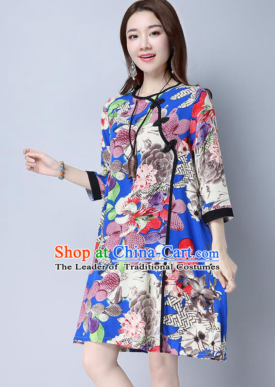 Traditional Ancient Chinese National Costume, Elegant Hanfu Linen Slant Opening Plated Buttons Blue Dress, China Tang Suit Chirpaur Republic of China Cheongsam Upper Outer Garment Elegant Dress Clothing for Women