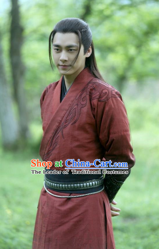Traditional Ancient Chinese Elegant Swordsman Costume, Chinese Jiang hu Taoist Knight-errant Dress, Cosplay Chinese Television Drama Jade Dynasty Qing Yun Faction Childe Hanfu Embroidery Clothing for Men