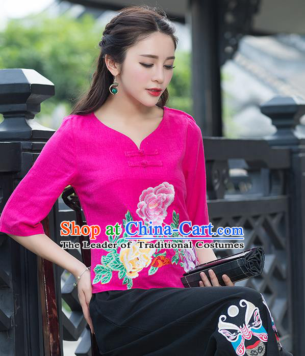 Traditional Chinese National Costume, Elegant Hanfu Embroidery Flowers Rose T-Shirt, China Tang Suit Republic of China Plated Buttons Chirpaur Blouse Cheong-sam Upper Outer Garment Qipao Shirts Clothing for Women