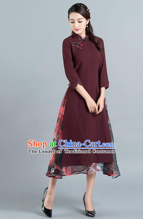 Traditional Ancient Chinese National Costume, Elegant Hanfu Mandarin Qipao Stand Collar Dress, China Tang Suit Plated Button Chirpaur Republic of China Cheongsam Upper Outer Garment Elegant Dress Clothing for Women
