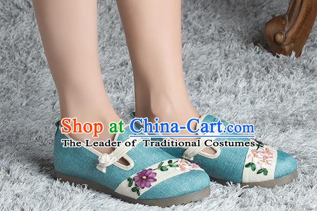 Traditional Chinese Shoes, China Handmade Linen Embroidered Blue Shoes, Ancient Princess Cloth Shoes for Women