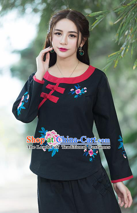 Traditional Chinese National Costume, Elegant Hanfu Linen Embroidery Flowers Round Collar Black T-Shirt, China Tang Suit Republic of China Plated Buttons Chirpaur Blouse Cheong-sam Upper Outer Garment Qipao Shirts Clothing for Women