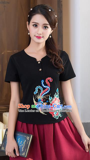 Traditional Chinese National Costume, Elegant Hanfu Embroidery Phoenix Flowers Black T-Shirt, China Tang Suit Republic of China Chirpaur Blouse Cheong-sam Upper Outer Garment Qipao Shirts Clothing for Women