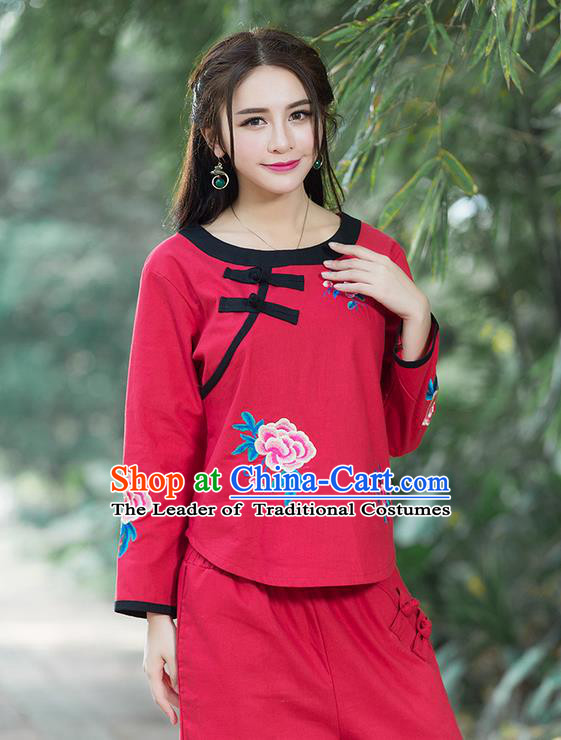 Traditional Chinese National Costume, Elegant Hanfu Linen Embroidery Flowers Round Collar Red T-Shirt, China Tang Suit Republic of China Plated Buttons Chirpaur Blouse Cheong-sam Upper Outer Garment Qipao Shirts Clothing for Women