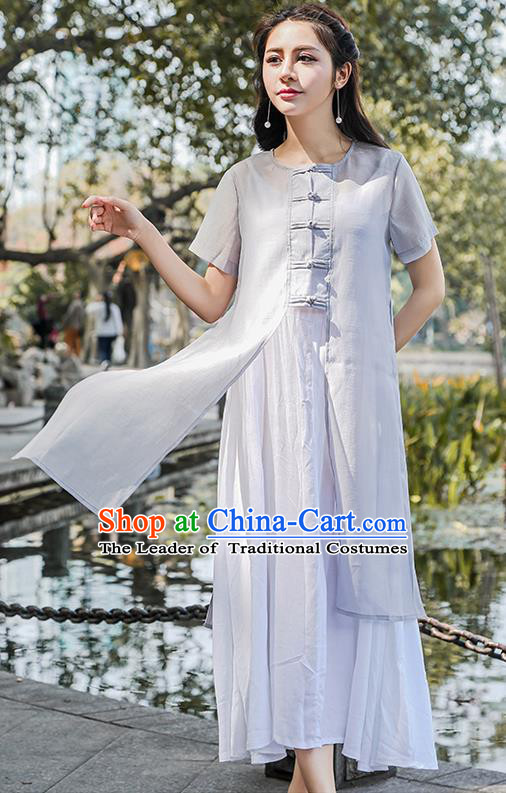 Traditional Ancient Chinese National Costume, Elegant Hanfu Grey Cardigan Coat and Singlet Complete Set, China Tang Suit Plated Buttons Cape and Dress, Upper Outer Garment Dust Coat Cloak for Women