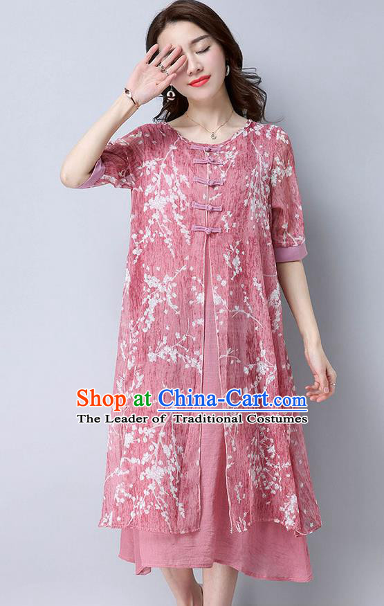 Traditional Ancient Chinese National Costume, Elegant Hanfu Mandarin Qipao Linen Double-deck Red Dress, China Tang Suit Chirpaur Republic of China Cheongsam Upper Outer Garment Elegant Dress Clothing for Women