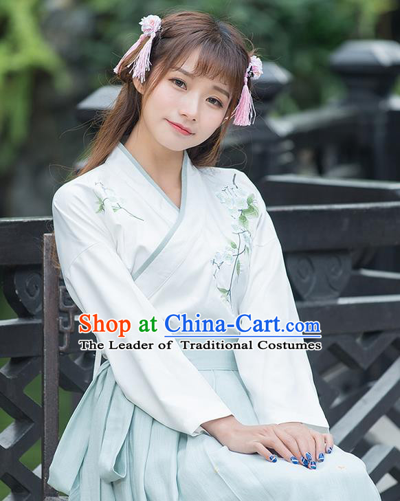 Traditional Ancient Chinese Costume, Elegant Hanfu Clothing Embroidered Slant Opening Blouse, China Tang Dynasty Princess Elegant Blouse for Women