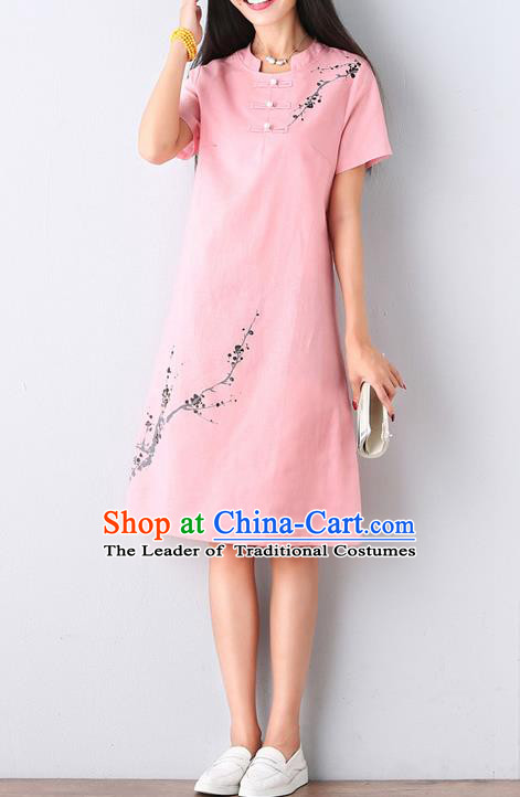Traditional Ancient Chinese National Costume, Elegant Hanfu Mandarin Qipao Hand Ink Painting Pink Dress, China Tang Suit Mandarin Collar Chirpaur Republic of China Cheongsam Upper Outer Garment Elegant Dress Clothing for Women