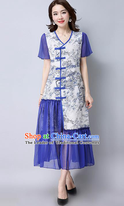 Traditional Ancient Chinese National Costume, Elegant Hanfu Mandarin Qipao Landscape Printing White Dress, China Tang Suit Chirpaur Republic of China Cheongsam Upper Outer Garment Elegant Dress Clothing for Women