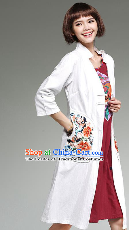 Traditional Ancient Chinese National Costume, Elegant Hanfu Cardigan Embroidered White Coat, China Tang Suit Plated Buttons Cape, Upper Outer Garment Dust Coat Cloak Clothing for Women