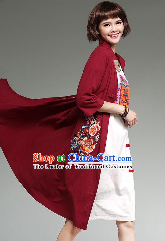 Traditional Ancient Chinese National Costume, Elegant Hanfu Cardigan Embroidered Red Coat, China Tang Suit Plated Buttons Cape, Upper Outer Garment Dust Coat Cloak Clothing for Women