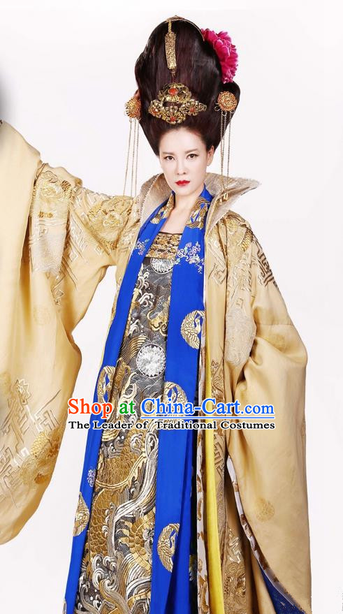 Traditional Ancient Chinese Elegant Queen Mother Costume, Chinese Ancient Han Dynasty Palace Lady Dress, Cosplay Chinese Television Drama Above The Clouds Empress Dowager Hanfu Trailing Embroidery Clothing for Women