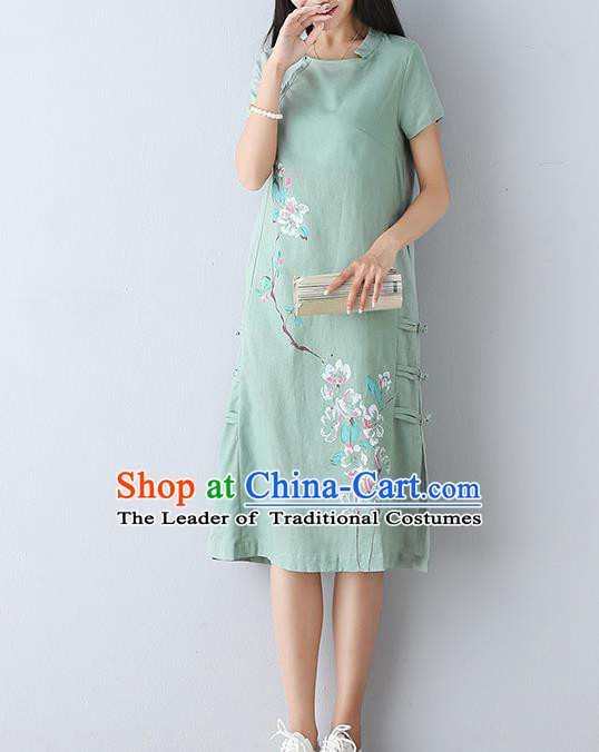 Traditional Ancient Chinese National Costume, Elegant Hanfu Mandarin Qipao Linen Printing Blue Dress, China Tang Suit Chirpaur Republic of China Cheongsam Upper Outer Garment Elegant Dress Clothing for Women
