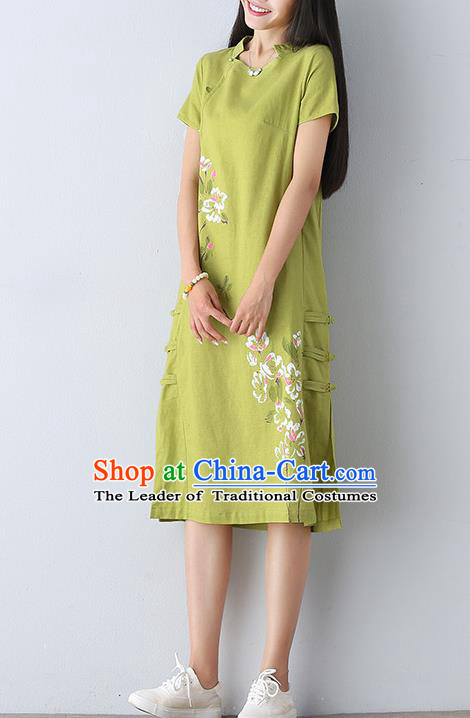 Traditional Ancient Chinese National Costume, Elegant Hanfu Mandarin Qipao Linen Printing Green Dress, China Tang Suit Chirpaur Republic of China Cheongsam Upper Outer Garment Elegant Dress Clothing for Women