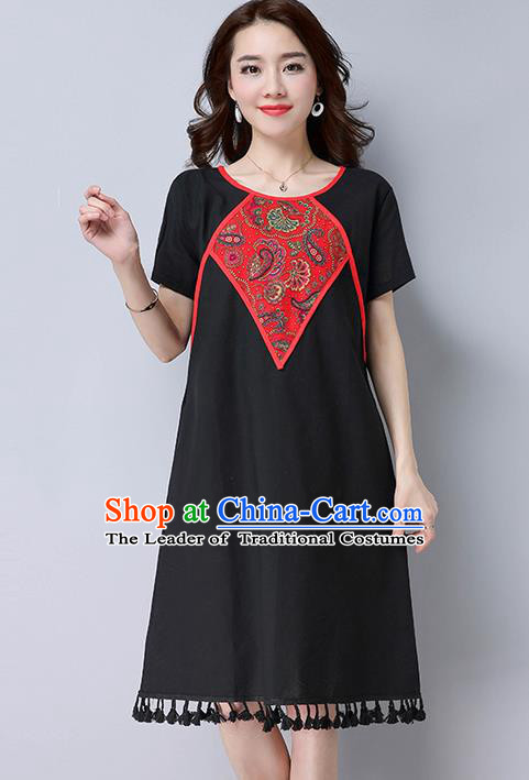 Traditional Ancient Chinese National Costume, Elegant Hanfu Mandarin Qipao Linen Patch Embroidery Black Dress, China Tang Suit Tassel Chirpaur Republic of China Cheongsam Upper Outer Garment Elegant Dress Clothing for Women