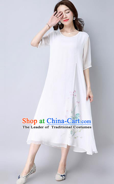 Traditional Ancient Chinese National Costume, Elegant Hanfu Mandarin Qipao Chiffon Painting White Dress, China Tang Suit Chirpaur Republic of China Cheongsam Upper Outer Garment Elegant Dress Clothing for Women