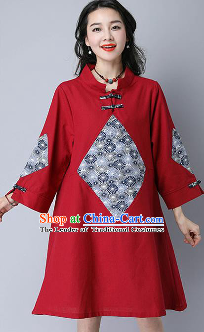 Traditional Ancient Chinese National Costume, Elegant Hanfu Mandarin Qipao Linen Patch Red Dress, China Tang Suit Chirpaur Republic of China Cheongsam Upper Outer Garment Elegant Dress Clothing for Women