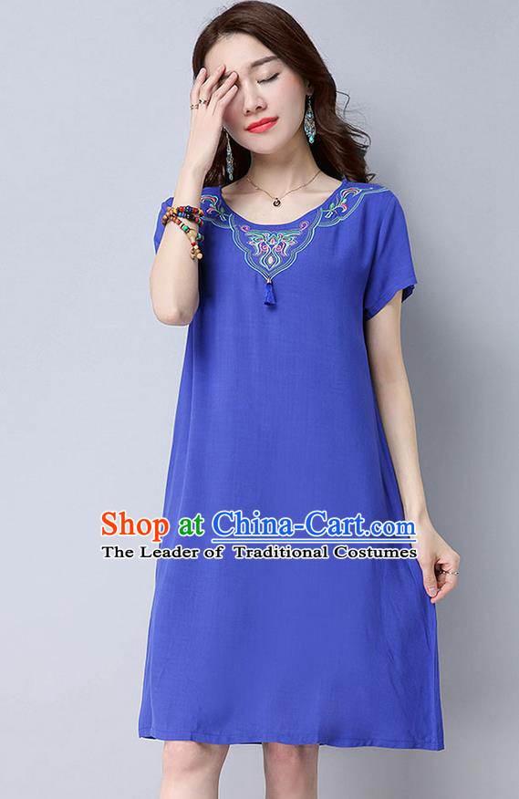 Traditional Ancient Chinese National Costume, Elegant Hanfu Mandarin Qipao Linen Embroidery Blue Dress, China Tang Suit Chirpaur Cheongsam Upper Outer Garment Elegant Dress Clothing for Women
