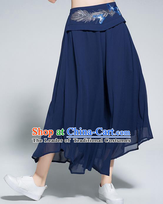 Traditional Chinese National Costume Loose Pants, Elegant Hanfu Embroidered Belt Chiffon Navy Wide leg Pants, China Ethnic Minorities Tang Suit Ultra-wide-leg Trousers for Women