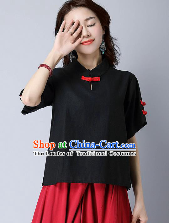 Traditional Chinese National Costume, Elegant Hanfu Stand Collar Black T-Shirt, China Tang Suit Republic of China Plated Buttons Chirpaur Blouse Cheong-sam Upper Outer Garment Qipao Shirts Clothing for Women