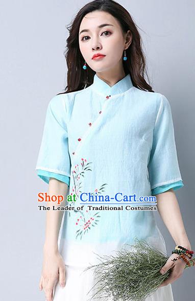 Traditional Chinese National Costume, Elegant Hanfu Hand Painting Flowers Slant Opening Blue Blouse, China Tang Suit Republic of China Plated Buttons Chirpaur Blouse Cheong-sam Upper Outer Garment Qipao Shirts Clothing for Women