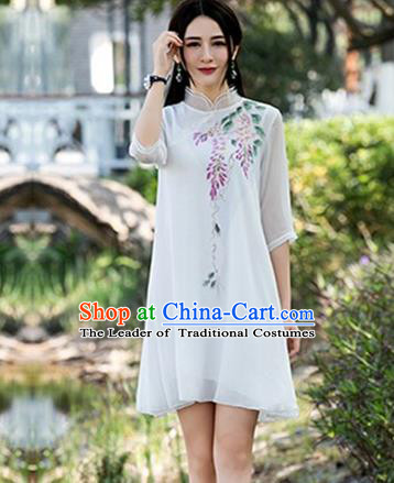 Traditional Ancient Chinese National Costume, Elegant Hanfu Mandarin Qipao Linen Hand Painting Wisteria White Dress, China Tang Suit Chirpaur Republic of China Cheongsam Upper Outer Garment Elegant Dress Clothing for Women