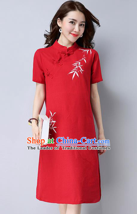 Traditional Ancient Chinese National Costume, Elegant Hanfu Mandarin Qipao Hand Painting Red Dress, China Tang Suit Stand Collar Chirpaur Republic of China Cheongsam Upper Outer Garment Elegant Dress Clothing for Women