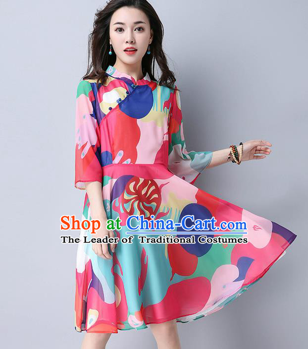 Traditional Ancient Chinese National Costume, Elegant Hanfu Mandarin Qipao Printing Red Bubble Dress, China Tang Suit Stand Collar Chirpaur Republic of China Cheongsam Upper Outer Garment Elegant Dress Clothing for Women