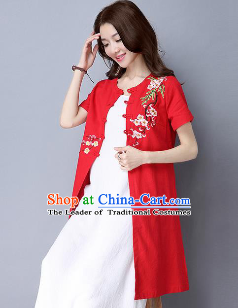 Traditional Ancient Chinese National Costume, Elegant Hanfu Red Embroidery Cardigan Coat, China Tang Suit Plated Buttons Ink Painting Cape, Upper Outer Garment Dust Coat Cloak Clothing for Women