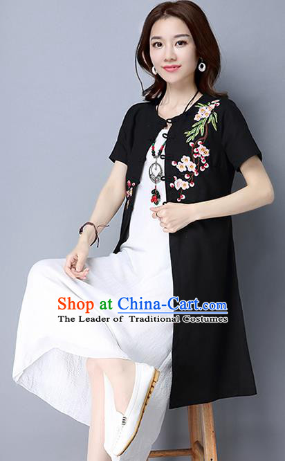 Traditional Ancient Chinese National Costume, Elegant Hanfu Black Embroidery Cardigan Coat, China Tang Suit Plated Buttons Ink Painting Cape, Upper Outer Garment Dust Coat Cloak Clothing for Women