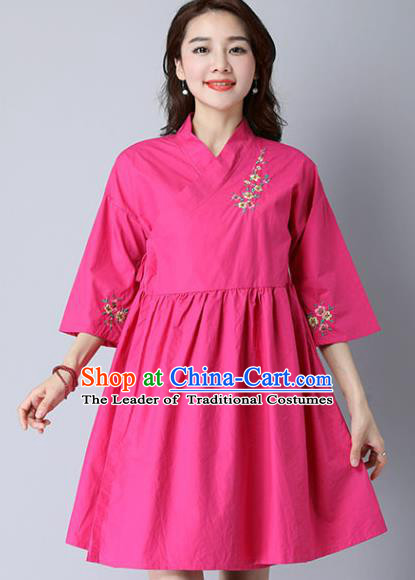 Traditional Ancient Chinese National Costume, Elegant Hanfu Mandarin Qipao Linen Hand Painting Pink Dress, China Tang Suit Cheongsam Upper Outer Garment Elegant Dress Clothing for Women