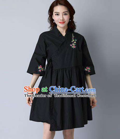 Traditional Ancient Chinese National Costume, Elegant Hanfu Mandarin Qipao Linen Hand Painting Black Dress, China Tang Suit Cheongsam Upper Outer Garment Elegant Dress Clothing for Women
