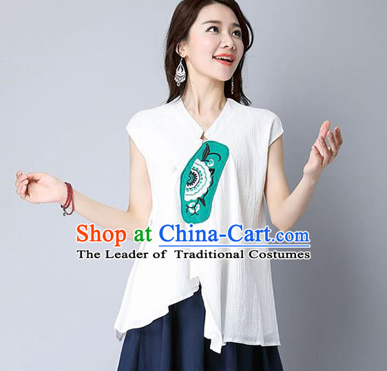 Traditional Chinese National Costume, Elegant Hanfu Patch Embroidery White T-Shirt, China Tang Suit Republic of China Plated Buttons Chirpaur Blouse Cheong-sam Upper Outer Garment Qipao Shirts Clothing for Women