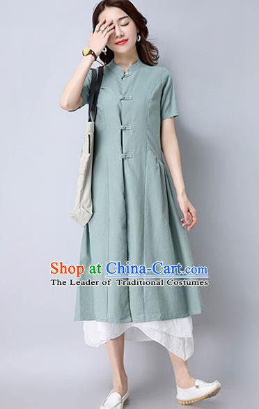 Traditional Ancient Chinese National Costume, Elegant Hanfu Stand Collar Green Coat Robes, China Tang Suit Plated Buttons Cape, Upper Outer Garment Dust Coat Clothing for Women