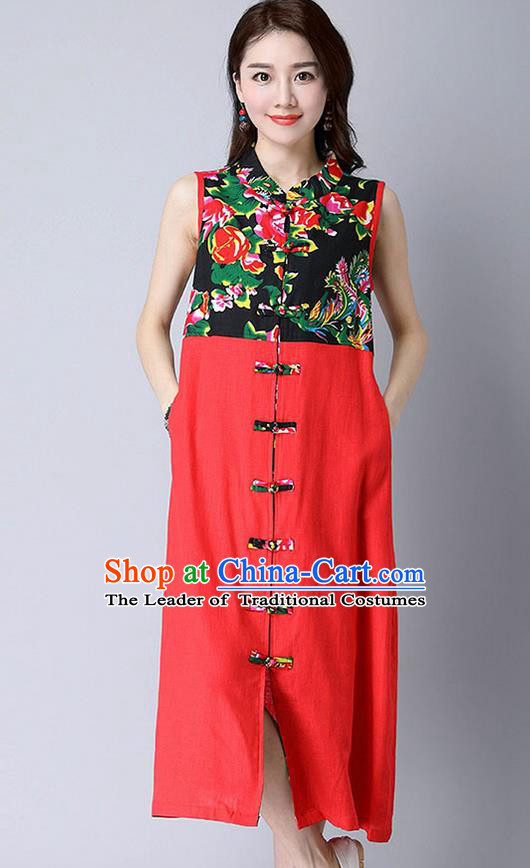 Traditional Ancient Chinese National Costume, Elegant Hanfu Mandarin Qipao Peony Flowers Joint Linen Red Dress, China Tang Suit Chirpaur Republic of China Cheongsam Upper Outer Garment Elegant Dress Clothing for Women