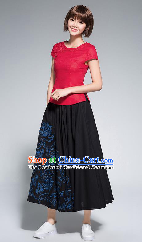 Traditional Ancient Chinese National Pleated Skirt Costume, Elegant Hanfu Embroidery Long Black Dress, China Tang Suit Linen Bust Skirt for Women