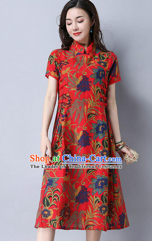 Traditional Ancient Chinese National Costume, Elegant Hanfu Mandarin Qipao Printing Linen Red Dress, China Tang Suit Chirpaur Cheongsam Upper Outer Garment Elegant Dress Clothing for Women