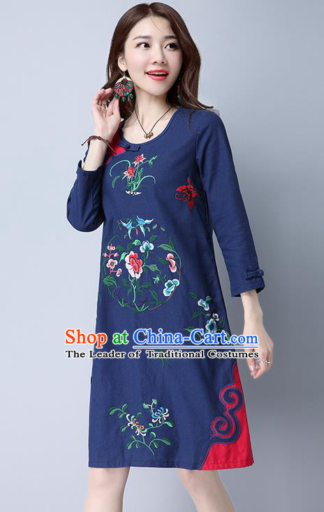 Traditional Ancient Chinese National Costume, Elegant Hanfu Mandarin Qipao Embroidery Navy Dress, China Tang Suit Chirpaur Upper Outer Garment Elegant Dress Clothing for Women