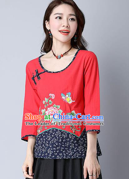 Traditional Chinese National Costume, Elegant Hanfu Embroidery Peony Flowers Red T-Shirt, China Tang Suit Republic of China Plated Button Chirpaur Blouse Cheong-sam Upper Outer Garment Qipao Shirts Clothing for Women