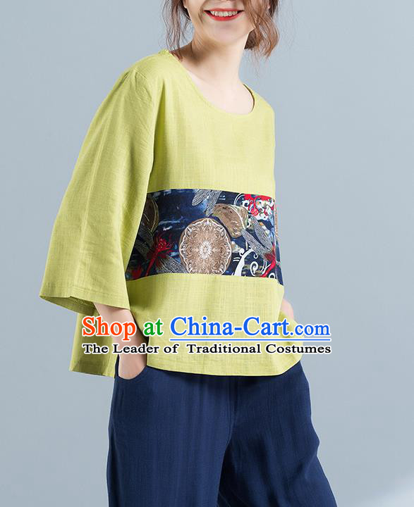 Traditional Chinese National Costume, Elegant Hanfu Yellow T-Shirt, China Tang Suit Blouse Upper Outer Garment Qipao Shirts Clothing for Women