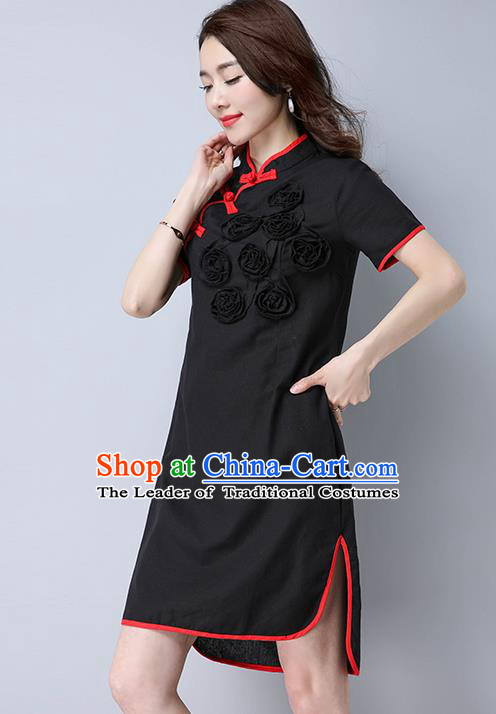 Traditional Ancient Chinese National Costume, Elegant Hanfu Mandarin Qipao Flowers Linen Black Dress, China Tang Suit Chirpaur Republic of China Cheongsam Upper Outer Garment Elegant Dress Clothing for Women