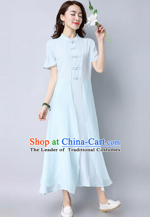 Traditional Ancient Chinese National Costume, Elegant Hanfu Mandarin Qipao Linen Blue Dress, China Tang Suit Chirpaur Republic of China Cheongsam Upper Outer Garment Elegant Dress Clothing for Women