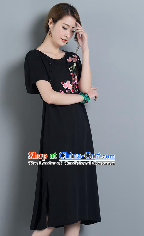 Traditional Ancient Chinese National Costume, Elegant Hanfu Mandarin Qipao Embroidery Peach Blossom Black Dress, China Tang Suit Chirpaur Upper Outer Garment Elegant Dress Clothing for Women
