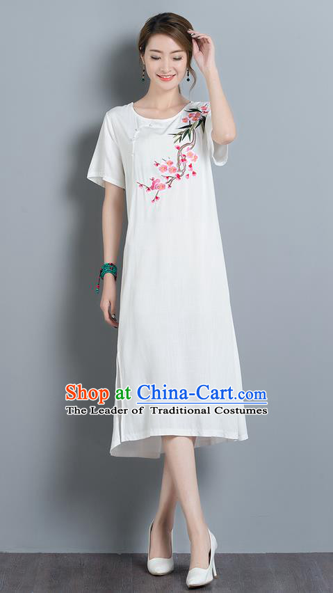 Traditional Ancient Chinese National Costume, Elegant Hanfu Mandarin Qipao Embroidery Peach Blossom White Dress, China Tang Suit Chirpaur Upper Outer Garment Elegant Dress Clothing for Women