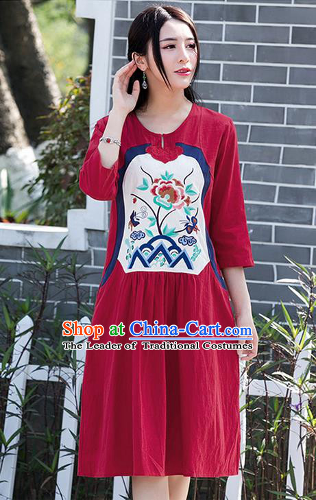 Traditional Ancient Chinese National Costume, Elegant Hanfu Patch Embroidery Red Dress, China Tang Suit Chirpaur Upper Outer Garment Elegant Dress Clothing for Women