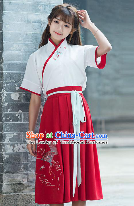 Traditional Ancient Chinese Costume, Elegant Hanfu Clothing Embroidered Blouse and Dress, China Han Dynasty Princess Elegant Blouse and Skirt Complete Set for Women